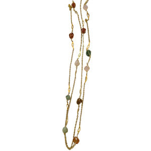 Vintage jewelry, Vintage necklace, Chain necklace, Stones, Multi color